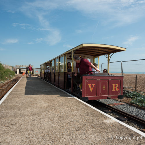 A view of a Volk's Railway carriage from the Halfway platform